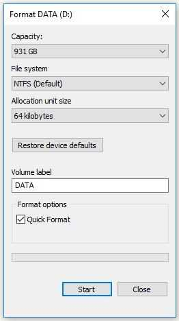 Format Hard Drive with these settings for MS SQL Database Storage